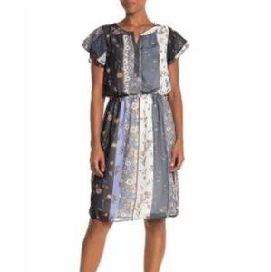 Como Vintage Floral Flutter Sleeve Blouson Dress